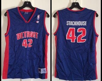1990's Detroit Pistons Jerry Stackhouse #42 Basketball team Champion Jersey blue Tank size youth 14-16 NBA number 42