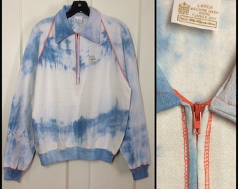 Deadstock 1970's Blue White Tie Dye half zip collar Sweatshirt size Large Orange zipper flat stitching Kings Road Sears Mens Store NOS NWT