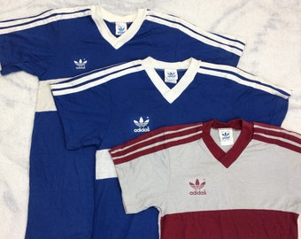 pick one- 1970s Adidas trefoil logo striped t-shirt size small, kids' XL, kids' medium made in USA blue white gray burgundy single stitch