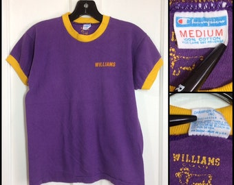 1970s Champion Blue Bar all cotton Williams College ringer t-shirt size medium looks small 17x21 flocked letters print purple yellow