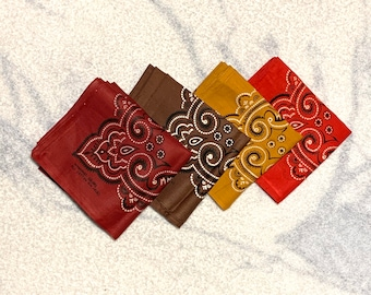Pick one- deadstock 1960s burgundy red brown yellow ochre cotton bandana Washfast Fast Color hemmed selvedge made in USA #173-176