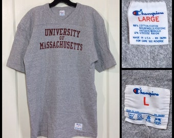 1980s UMASS University Massachusetts Champion brand heather gray football jersey t-shirt size large 19x27 made in USA college cotton rayon