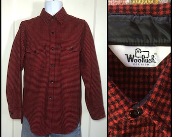1980's Woolrich Plaid Wool shirt size Medium Dark Red and Black tiny buffalo plaid made in USA