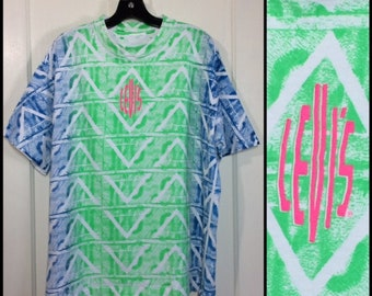 1990s Levis t-shirt looks size XL 22x26 neon day glow tribal all over print rave black light party green blue hot pink