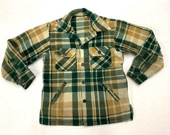 1970s LL Bean script label heavy wool shirt jacket 4 pockets tag size M, looks small tan dark green made in USA