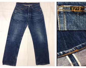 1990s does 1950s dark wash Indigo Blue denim button fly Jeans measures 32x30 redline selvedge 501 style reproduction #300