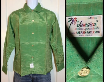 Deadstock 1950s Green textured Two Tone shimmer Sharkskin Rayon Shirt NWT size Medium Haband Patterson Rockabilly Elvis NOS