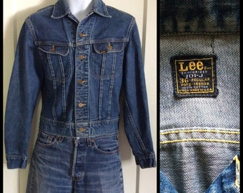 Vintage 1970s Lee 101-J Jacket size 36 excellent patina Blue Jean 2 pocket Union Made in USA #1851