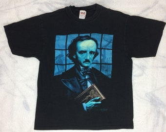 1990s Edgar Allen Poe by artist Wes Benscoter t-shirt size medium 19x24 black cotton raven