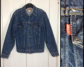 Vintage Levis Denim Blue Jean Jacket 2 Pocket Size 36 Small Dark Wash made in USA #1910