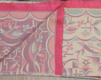 1920s 1930s art deco wool blanket 60x70 inch pink light blue off white cream color abstract flower garden patterned double weave reversible