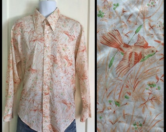 Vintage 1970's Bird Scene Patterned Pastel Peach Permanent Press Shirt size L by Campus