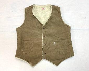 1970s 1980s Levis fleece lined corduroy winter vest size large western style cowboy trucker sherpa boho hippie