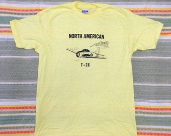 deadstock 1980s North American T-28 USAF vintage airplane t-shirt size xl 21x30 pilot aircraft yellow Hanes made in USA NOS