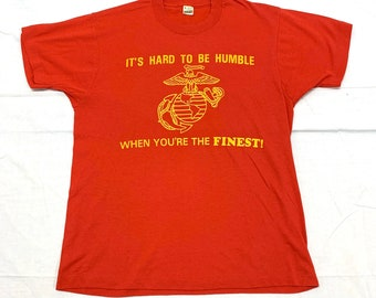 1980s US Marines humor t-shirt size large 20x26 red Screen Stars made in USA single stitch