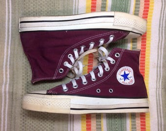 1990's Burgundy Wine Converse Allstars size 6.5 made in USA Chuck Taylors Chucks hi tops canvas sneakers kicks shoes punk skate Maroon