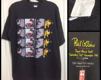 1990s Phil Collins in Concert at the Royal Albert Hall London UK 1994 t-shirt looks size XL 23x27 faded black cotton classic rock tour