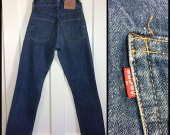 1970s Levi's 505 Straight Leg denim Blue boyfriend Jeans tag size 29x30, measures 27x28 made in USA black bar stitch Talon zipper #313