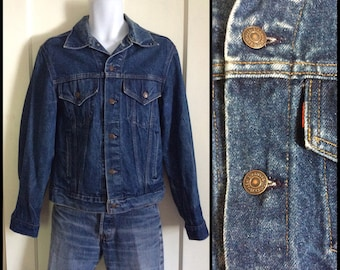 1980s Levis blue jean jacket looks size Large 4 pocket made in USA cut Tab #1855