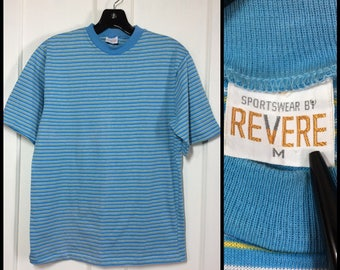1960's light blue with thin white yellow stripes t-shirt size Medium by Revere excellent condition mod beach surfer