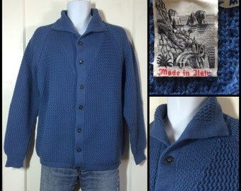 1970s soft Pure Wool Blue textured knit Italian Cardigan sweater size Medium made in Italy