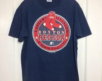 Boston Red Sox 1988 Eastern Division Championships baseball team t-shirt size XL 20x26 Starter brand all cotton old logo made in USA