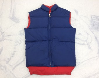 1980s reversible puffer vest size small by American Down blue red down ski vest trucker camping sherpa