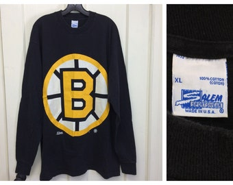 1990s 1992 Boston Bruins NHL hockey team long sleeve t-shirt size XL 24x32 sports team Salem Sportswear cotton made in USA