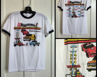 1980's Deadstock Drag Racing Muscle Car Van Pick up Truck Hot Rod thin ringer T-shirt size Medium Keystone