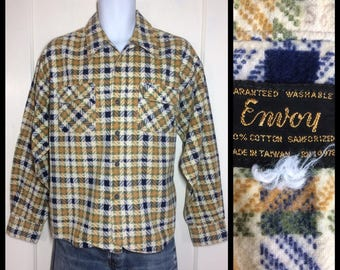1960's Plaid soft cotton Flannel Shirt looks size XXL green yellow ochre indigo blue Envoy Sanforized work farmer