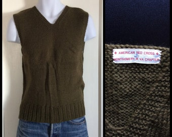 1940s WWII American Red Cross hand knit V-neck wool Sweater Vest size Small Army Green Montgomery W. VA Chapter A.R.C. arc ww2 era
