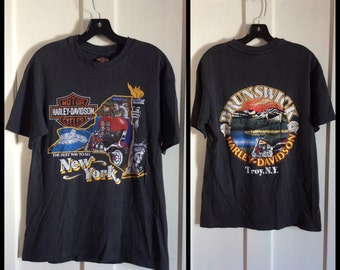 1988 New York City NYC Harley Davidson Motorcycle T-shirt size medium 19x27 Brunswick Troy twin towers big apple hogs
