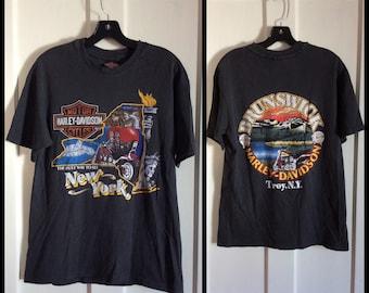 1988 New York City NYC Harley Davidson Motorcycle T-shirt size medium 19x27 Brunswick Troy twin towers big apple hogs single stitch