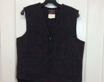 vintage Johnson Woolen Mills wool work vest size medium zip up dark gray red green plaid made in USA
