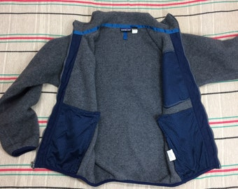 Patagonia fleece zip-up jacket size small made in USA gray turquoise navy blue camping hiking skiing