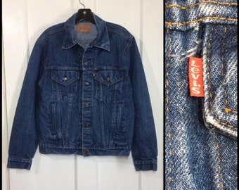 1980s Levi's 4 pocket denim blue jean jacket medium dark wash size 40 made in USA #1937