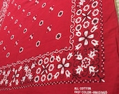 1960 39 s red Bandana 20.5x20.5 All Cotton Fast Color made in USA Selvedge Tulips Flowers Dots Swirls initials JM very used worn soft 65