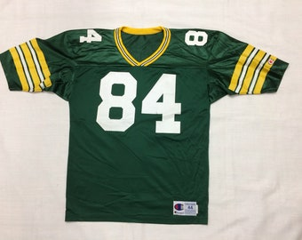 1990s NFL Green Bay Packers football jersey 84 Sterling Sharpe size 44 Champion brand made in USA green yellow striped throwback Super Bowl