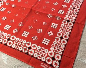 Vintage 1960s large Red Bandana 20x21 ColorFast polka dot abstract flower bold print hemmed cotton selvedge made in USA #10