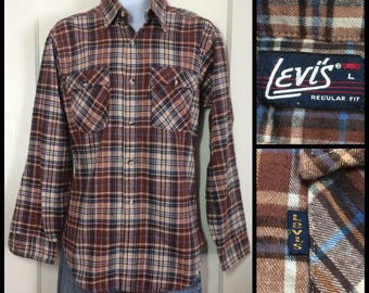 1970's Levi's Brown Tan Plaid Flannel Shirt size Large all cotton Blue Tab made in USA barely used condition
