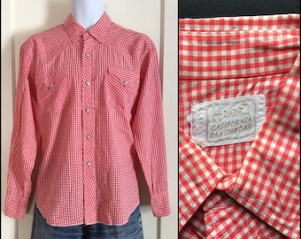 1950's Red and White Gingham Check Cowboy Western Shirt looks size Large HBarC California Rancher Ranchwear