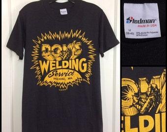 1980s Don's Welding Service Holyoke MA worn paper thin t-shirt size medium 17x27.5 Stedman made in USA mechanic industrial work workwear