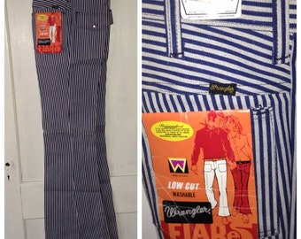 1960s deadstock Wrangler RR hickory striped wide flare bell bottom hip hugger low rise jeans 30x34, measures 32x36 tall skinny