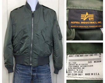 1970s 1980s military L2b US Air Force USAF reversible bomber flight jacket size medium olive green orange Alpha Industries made in USA #148