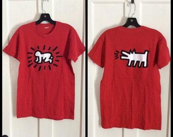 Vintage 1980s Keith Haring Pop Art Baby Dog T-shirt size Medium 18x27 Screen Stars all cotton made in USA single stitch graffiti art