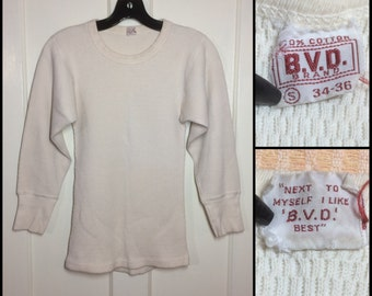 1950's soft thick cotton Thermal BVD brand Long Johns Undershirt size Small 34-36 off white t-shirt Waffle Textured flat stitch long cuff #5