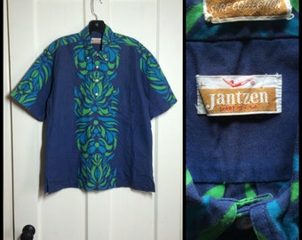 Vintage 1960s cotton Button Down Collar Short Sleeve Hawaiian Henley Neck Shirt size Large Blue Green Jantzen Surf Collection