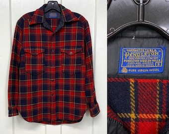 1960s Pendleton thick wool field shirt size small slim taper fit made in USA red navy blue almost black buffalo plaid lumberjack made in USA