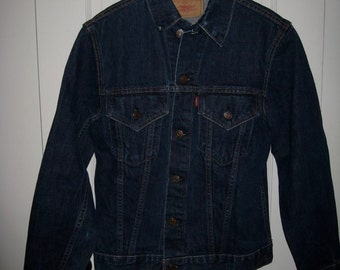 1960s LEVI'S Big E dark wash Indigo Blue 2 Pocket Denim Jean Jacket size 34 Small Slim Fit # 1814