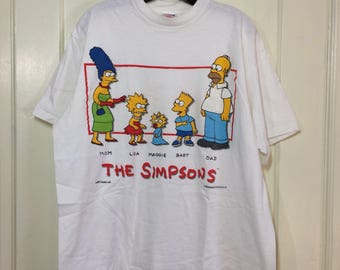 Vintage 1990s Bart Simpson the Simpsons white cotton t-shirt size XL 23x26 Maggie Homer Lisa Marge family